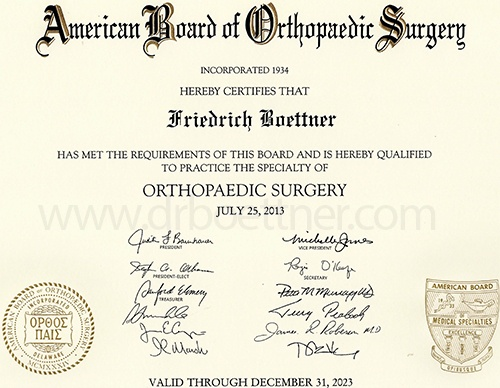 Board Certification Certificate - Friedrich Boettner, MD PC